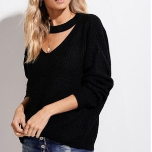 LA Miel Hyped Unicorn Sweaters - Key hole Black Sweater Top